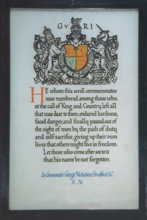 Commemorative Royal Tribute to Lieutenant-Commander George Nicholson Bradford V.C., Royal Navy