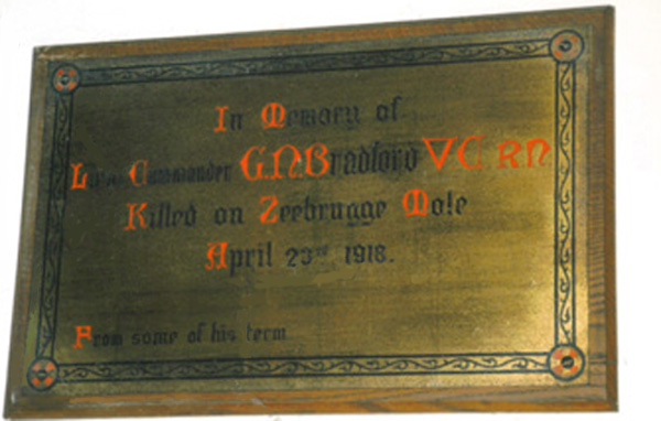photo of Memorial Plaque in the Bradford's local church, Holy Trinity, Woodland Road, Darlington