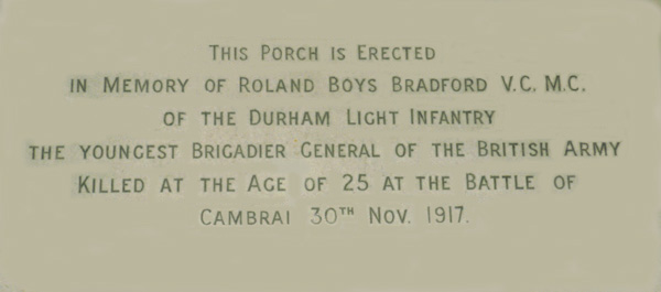 pic of the inscription upon the wall of the porch at The Bradford Entrance of Darlington Memorial Hospital