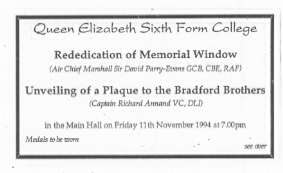 Invitation to Unveiling of Plaque to the Bradford Brothers