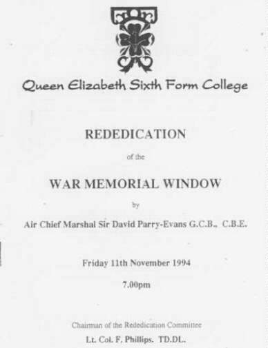 Pic of Front Cover of Memorial Ceremony held November 11th 1994 at Q E Sixth Form College Darlington