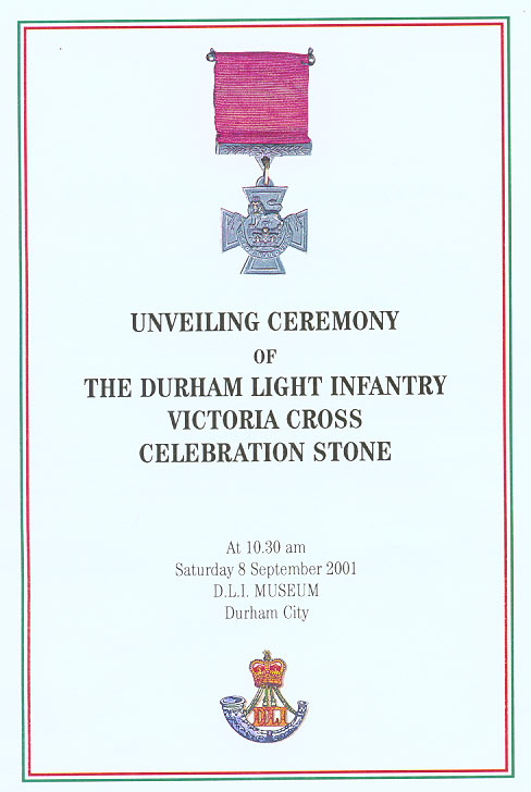 Front Cover of D L I Ceremony held on 8th September 2001