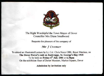 Invitation to the Dover Patrol Lecture in 2001