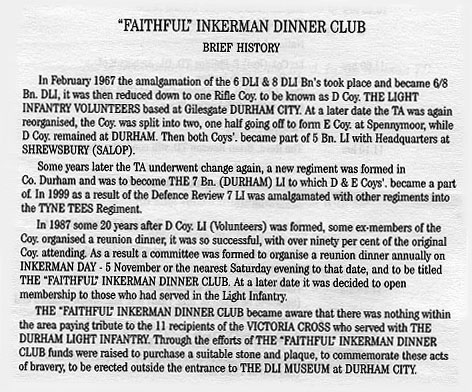 Brief History of The Faithful Inkerman Dinner Club