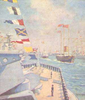 Colour pic of Coronation Review at Spithead