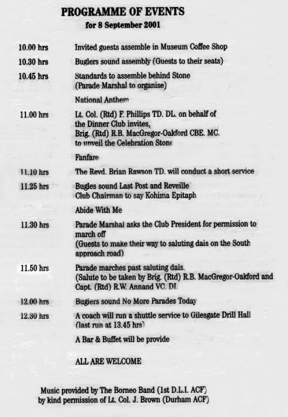 Programme of Events for 8th September 2001