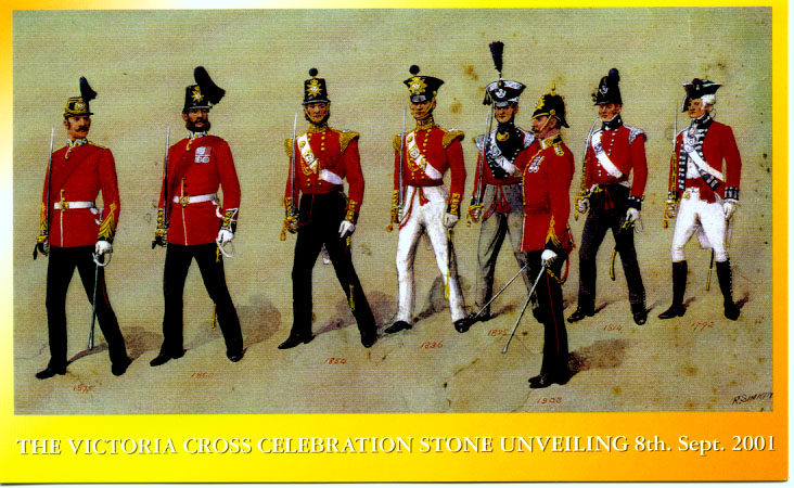 Colour pic of 8 regimental uniforms from 1792 to 1903