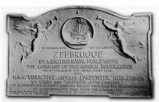 b & w detail of text on commemorative plaque at the Mole in Zeebrugge